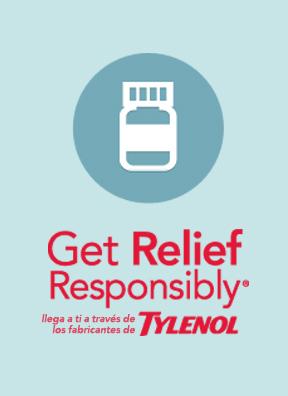 ícono de tylenol get relief responsibly con frasco